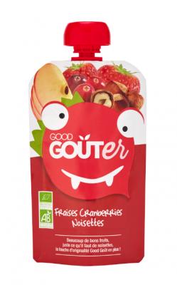 Gourde Fraises Cranberries Noisettes, Good Goût, 1.25€